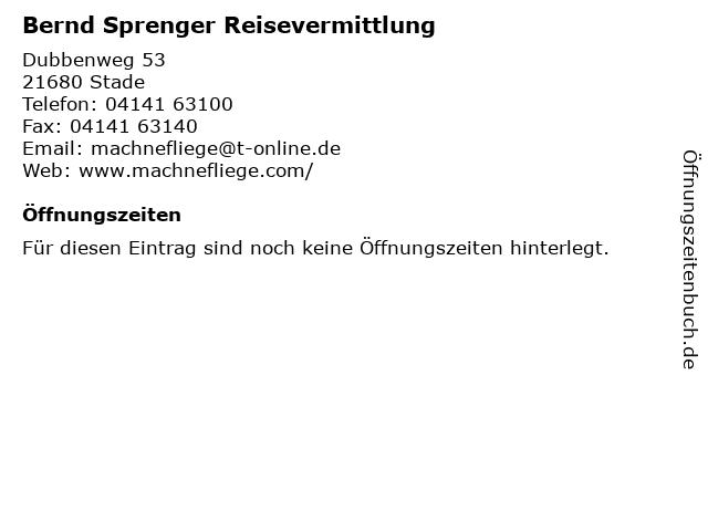 Bernd Sprenger Reisevermittlung in Stade: Adresse und Öffnungszeiten