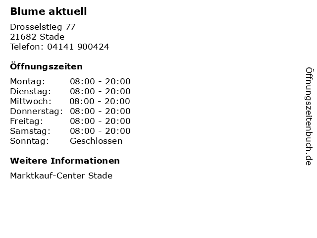 Blume aktuell in Stade: Adresse und Öffnungszeiten
