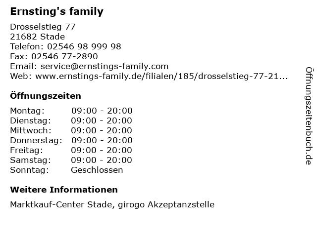 Ernsting's family GmbH & Co. KG in Stade: Adresse und Öffnungszeiten