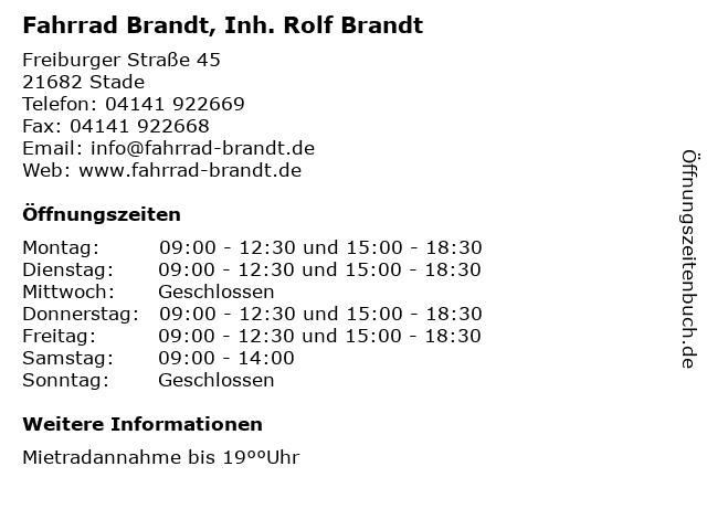 Fahrrad Brandt, Inh. Rolf Brandt in Stade: Adresse und Öffnungszeiten