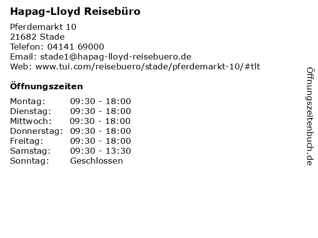 Hapag-Lloyd Reisebüro in Stade: Adresse und Öffnungszeiten