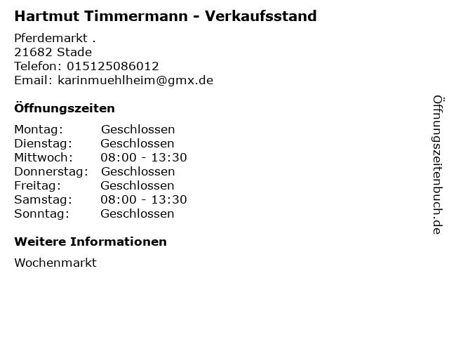 Hartmut Timmermann - Verkaufsstand in Stade: Adresse und Öffnungszeiten