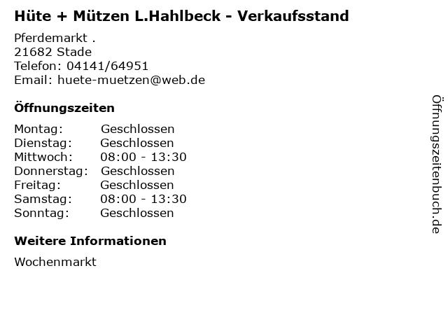 Hüte + Mützen L.Hahlbeck - Verkaufsstand in Stade: Adresse und Öffnungszeiten