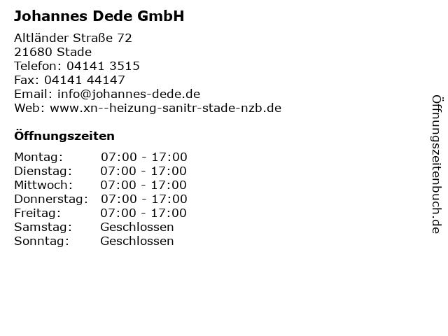 Johannes Dede GmbH in Stade: Adresse und Öffnungszeiten