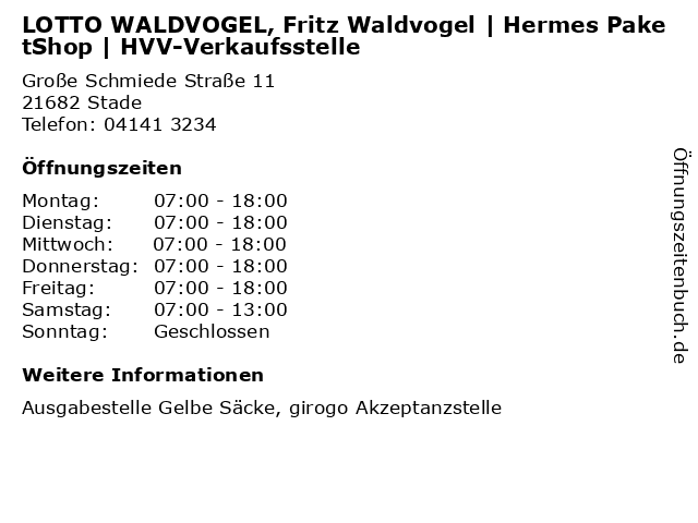 LOTTO WALDVOGEL, Fritz Waldvogel   Hermes PaketShop   HVV-Verkaufsstelle in Stade: Adresse und Öffnungszeiten