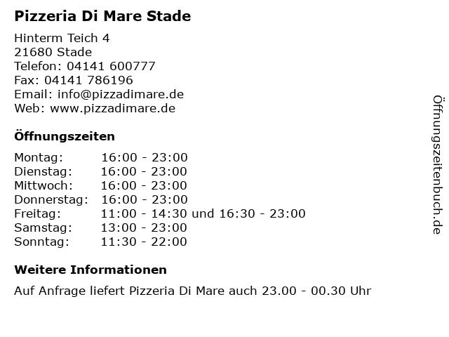 Pizzeria Di Mare Stade in Stade: Adresse und Öffnungszeiten
