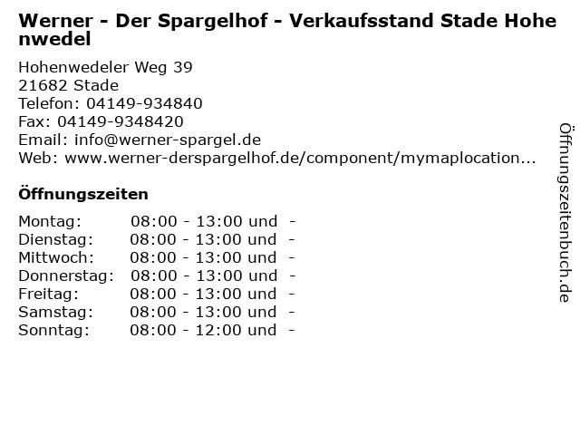 Werner - Der Spargelhof - Verkaufsstand Stade Hohenwedel in Stade: Adresse und Öffnungszeiten