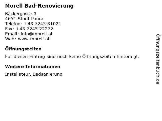 Morell Bad-Renovierung in Stadl-Paura: Adresse und Öffnungszeiten