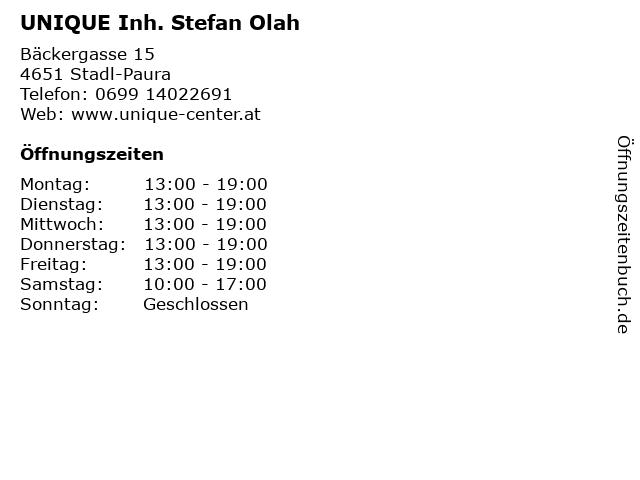 UNIQUE Inh. Stefan Olah in Stadl-Paura: Adresse und Öffnungszeiten