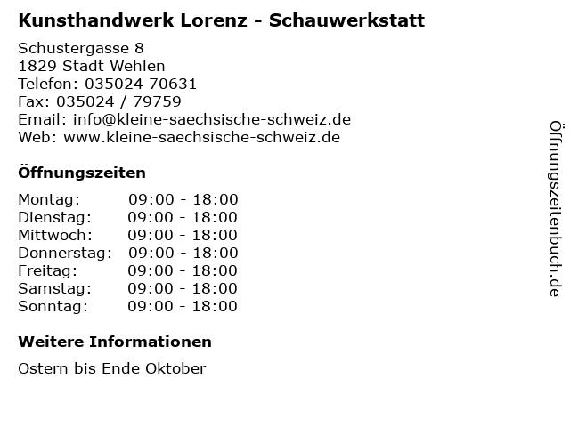 Kunsthandwerk Lorenz - Schauwerkstatt in Stadt Wehlen: Adresse und Öffnungszeiten