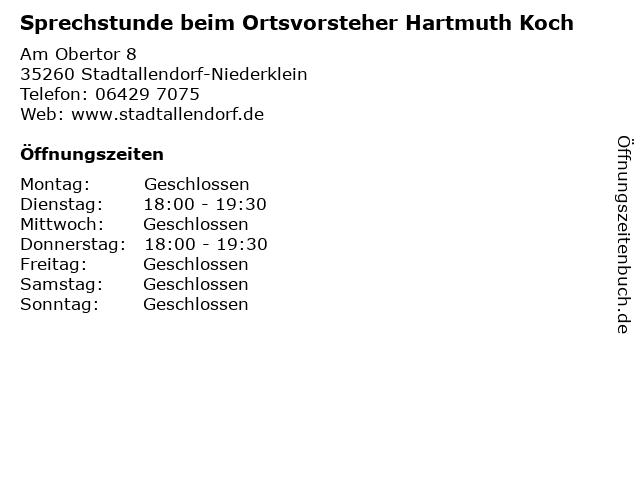 Sprechstunde beim Ortsvorsteher Hartmuth Koch in Stadtallendorf-Niederklein: Adresse und Öffnungszeiten