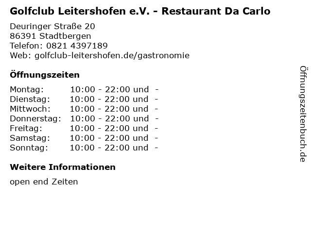 Golfclub Leitershofen e.V. - Restaurant Da Carlo in Stadtbergen: Adresse und Öffnungszeiten