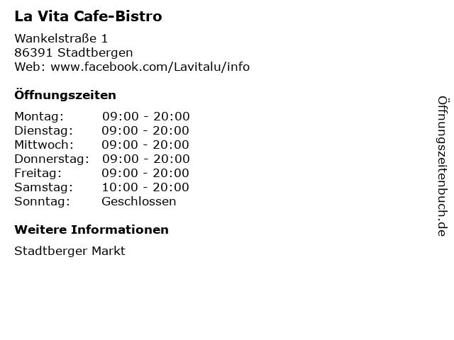La Vita Cafe-Bistro in Stadtbergen: Adresse und Öffnungszeiten