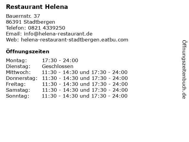 Restaurant Helena in Stadtbergen: Adresse und Öffnungszeiten