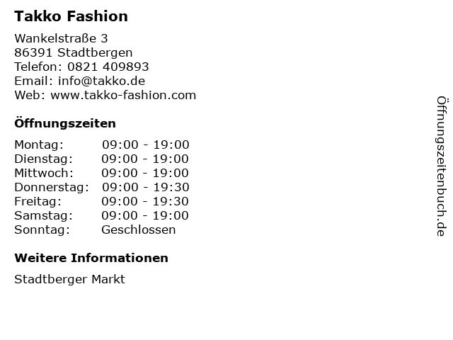 Takko Fashion in Stadtbergen: Adresse und Öffnungszeiten