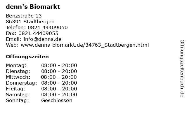 denn's Biomarkt in Stadtbergen: Adresse und Öffnungszeiten