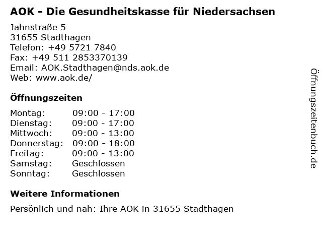 AOK - Die Gesundheitskasse für Niedersachsen in Stadthagen: Adresse und Öffnungszeiten