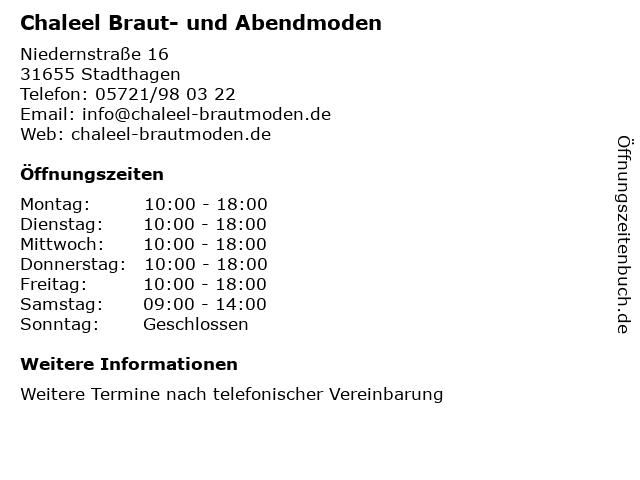Chaleel Braut- und Abendmoden in Stadthagen: Adresse und Öffnungszeiten