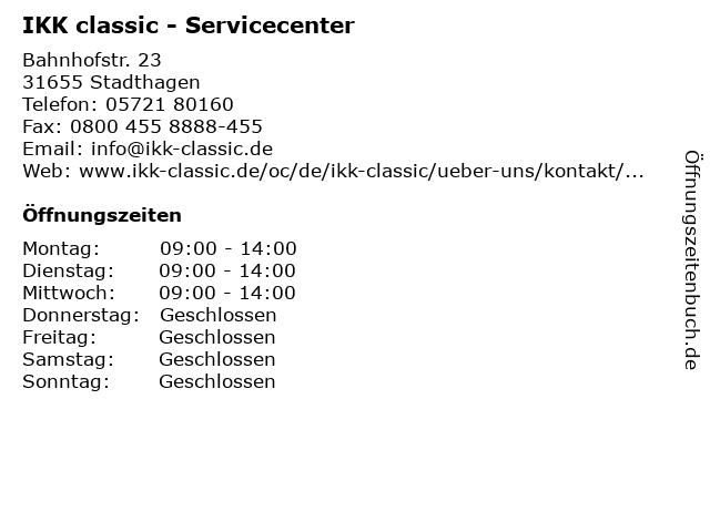 IKK classic - Servicecenter Stadthagen in Stadthagen: Adresse und Öffnungszeiten