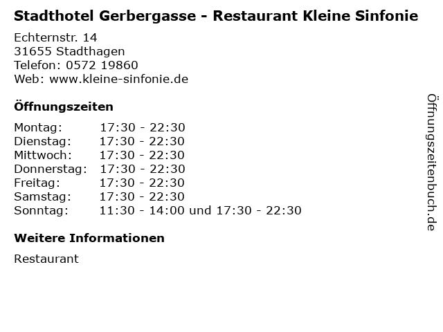 Stadthotel Gerbergasse - Restaurant Kleine Sinfonie in Stadthagen: Adresse und Öffnungszeiten