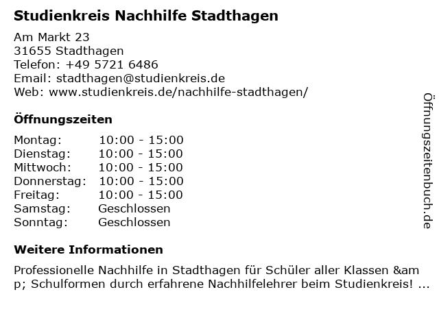 Studienkreis Nachhilfe Stadthagen in Stadthagen: Adresse und Öffnungszeiten
