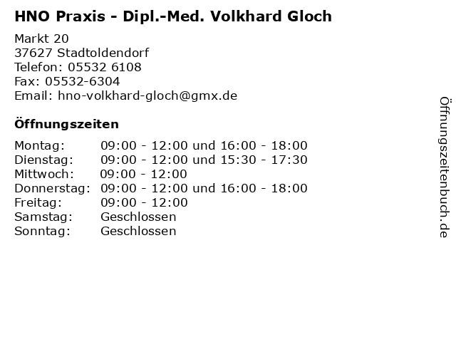Dipl.-Med. Volkhard Gloch - HNO Praxis in Stadtoldendorf: Adresse und Öffnungszeiten