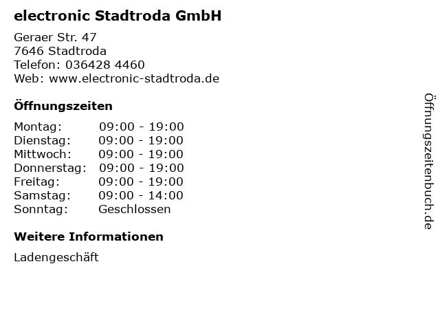 electronic Stadtroda GmbH in Stadtroda: Adresse und Öffnungszeiten