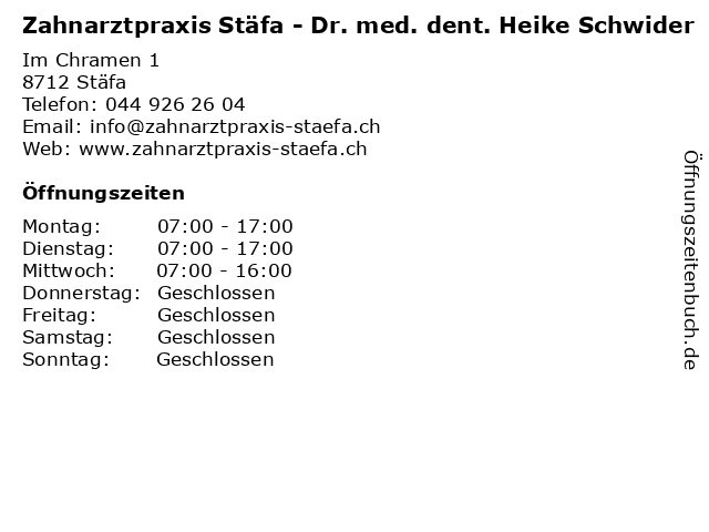 Zahnarztpraxis Stäfa - Dr. med. dent. Heike Schwider in Stäfa: Adresse und Öffnungszeiten