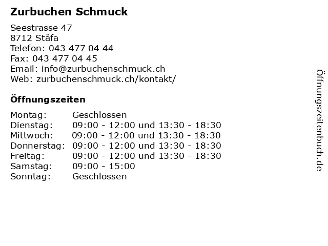 Zurbuchen Schmuck in Stäfa: Adresse und Öffnungszeiten
