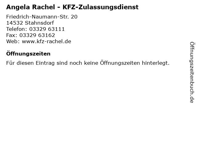 Angela Rachel - KFZ-Zulassungsdienst in Stahnsdorf: Adresse und Öffnungszeiten