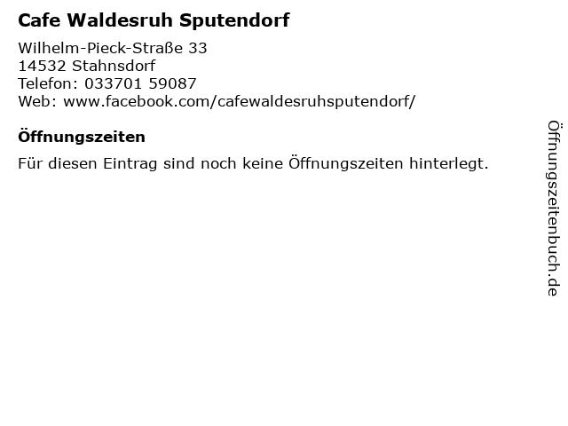 Cafe Waldesruh Sputendorf in Stahnsdorf: Adresse und Öffnungszeiten