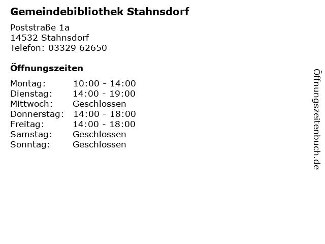 Gemeindebibliothek Stahnsdorf in Stahnsdorf: Adresse und Öffnungszeiten