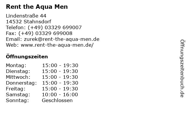 Rent the Aqua Men in Stahnsdorf: Adresse und Öffnungszeiten