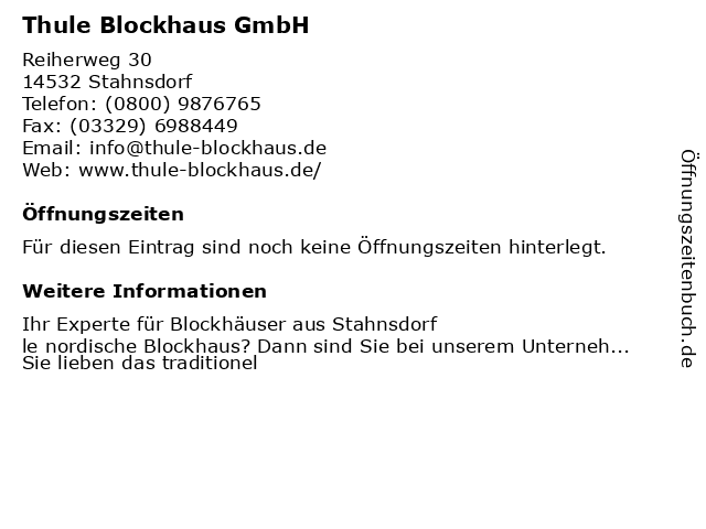 ᐅ Offnungszeiten Thule Blockhaus Gmbh Reiherweg 30 In Stahnsdorf