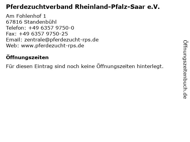 Pferdezuchtverband Rheinland-Pfalz-Saar e.V. in Standenbühl: Adresse und Öffnungszeiten