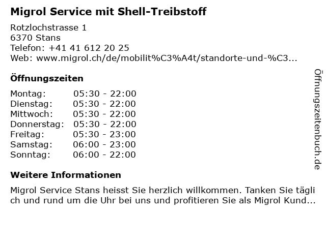 Migrol Service in Stans: Adresse und Öffnungszeiten