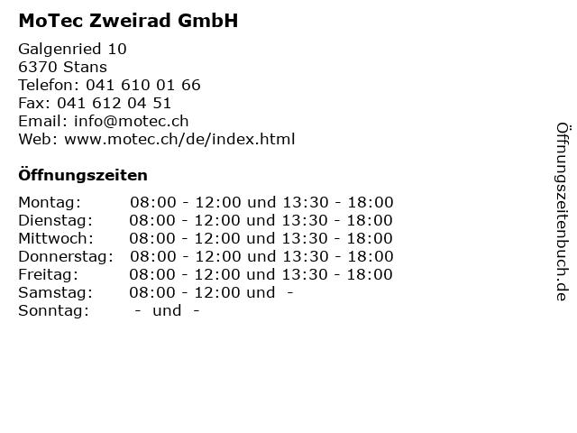MoTec Zweirad GmbH in Stans: Adresse und Öffnungszeiten