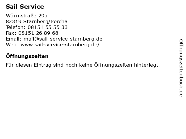 Sail Service in Starnberg/Percha: Adresse und Öffnungszeiten