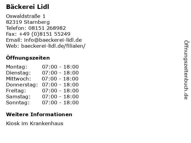 Bäckerei Lidl in Starnberg: Adresse und Öffnungszeiten