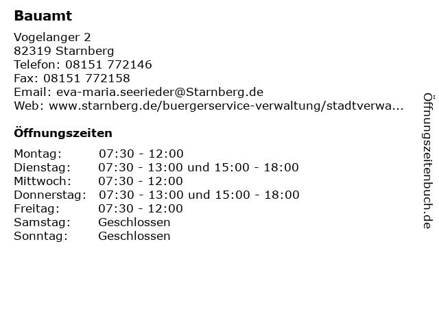 Bauamt in Starnberg: Adresse und Öffnungszeiten