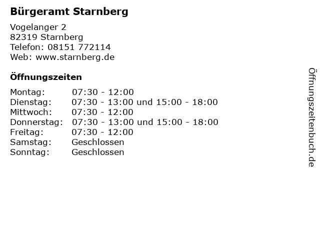 Bürgeramt Starnberg in Starnberg: Adresse und Öffnungszeiten