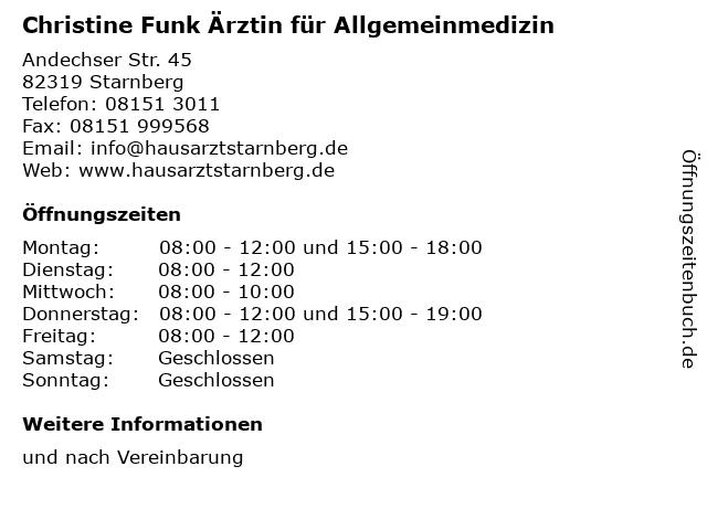 Christine Funk Ärztin für Allgemeinmedizin in Starnberg: Adresse und Öffnungszeiten