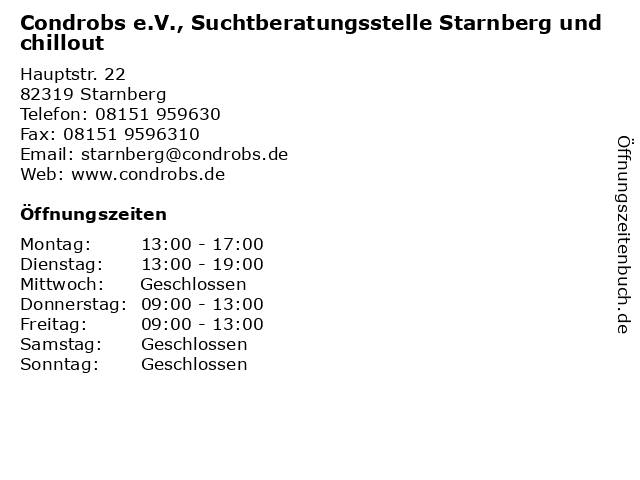 Condrobs e.V., Suchtberatungsstelle Starnberg und chillout in Starnberg: Adresse und Öffnungszeiten