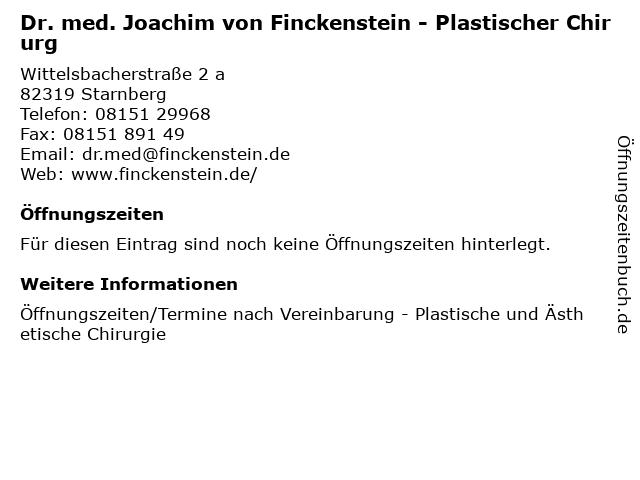 Dr. med. Joachim von Finckenstein - Plastischer Chirurg in Starnberg: Adresse und Öffnungszeiten