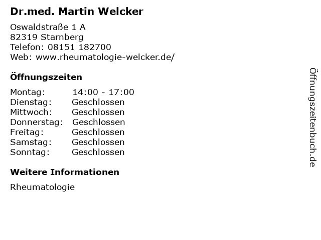 Dr.med. Martin Welcker in Starnberg: Adresse und Öffnungszeiten