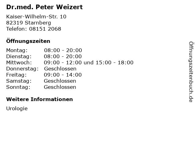 Dr.med. Peter Weizert in Starnberg: Adresse und Öffnungszeiten