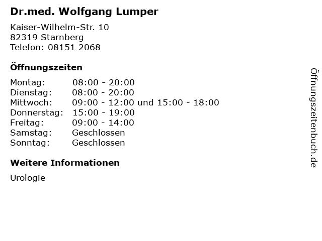 Dr.med. Wolfgang Lumper in Starnberg: Adresse und Öffnungszeiten