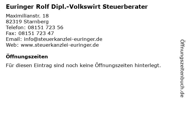 Euringer Rolf Dipl.-Volkswirt Steuerberater in Starnberg: Adresse und Öffnungszeiten