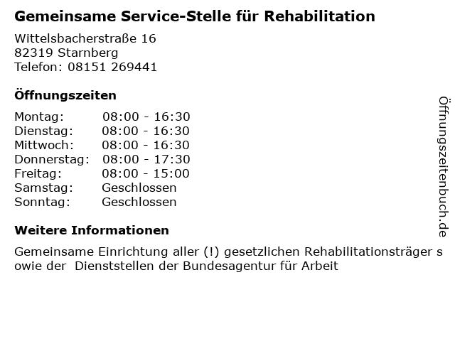 Gemeinsame Service-Stelle für Rehabilitation in Starnberg: Adresse und Öffnungszeiten
