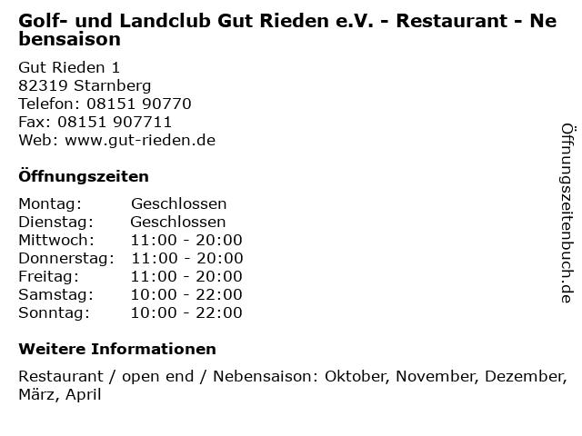 Golf- und Landclub Gut Rieden e.V. - Restaurant - Nebensaison in Starnberg: Adresse und Öffnungszeiten